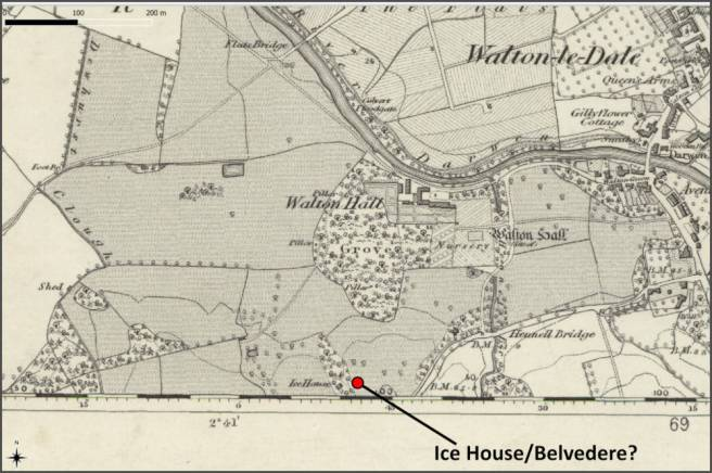 Map of ice house or belvedere in 1840s at Walton Hall Walton-le-Dale Lancashire UK
