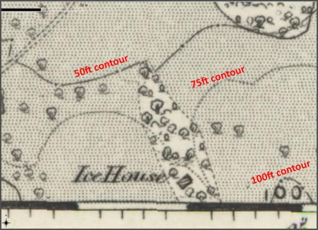 Ice house at Walton hall, Walton-le-Dale Lancashire UK on the 1840s Ordnance Survey map.