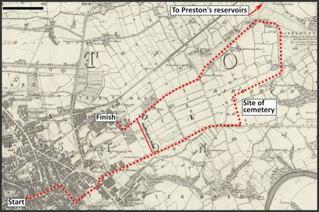 Map of Victorian Preston Lancashire UK showing route taken by visiting reporter