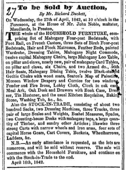 Auction notice sale of household goods and stock-in-trade of John Noble Preston Lancashire UK 1842