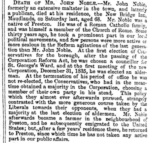 Obituary for John Noble Preston Lancashire  UK 1865