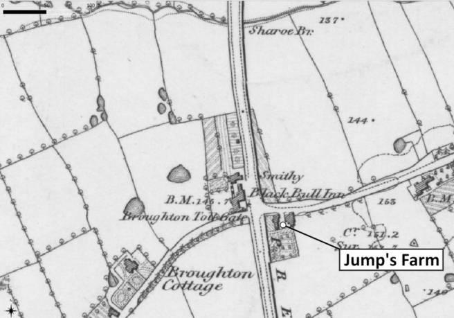 Mao showing Jump's Farm Broughton Preston Lancashire UK in 1840s