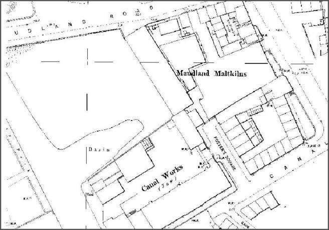Map of Maudland district Preston Lancashire UK 1890s
