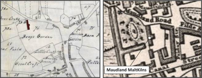 Sections of Lang's map of Preston Lancashire UK of 1825 (left) and Baines's map of Preston of 1825