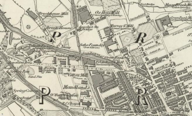 Section of 1st edition six inch ordnance survey map of Preston, Lancashire UK