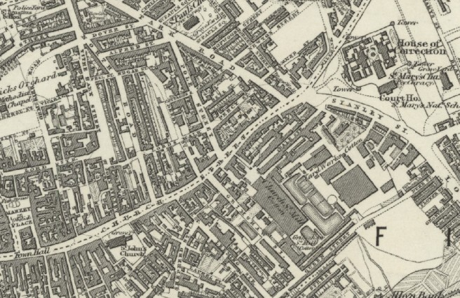 Section of 1st edition six inch ordnance survey map of Preston, Lancashire UK