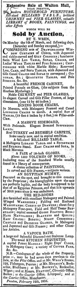 Advert for sale of Walton Hall, Walton-le-Dale Preston UK 1835