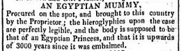 Advert for sale of Egyptian mummy at Walton Hall Walton-le-Dale Preston lancashire UK in 1835