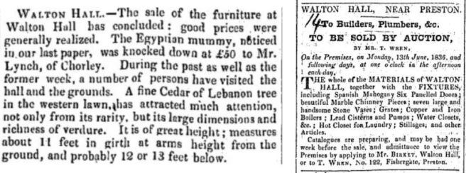 Newspaper cuttings referring to sale of Walton Hall Walton-le-Dale Preston lancashire UK