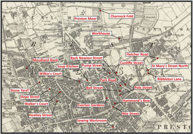 Map of places Edwin Waugh visited in Preston Lancashire UK in 1862