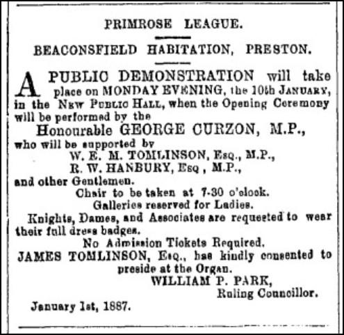 Primrose League meeting advert