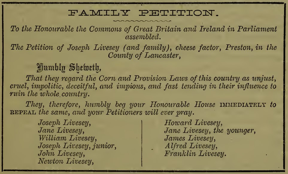 Livesey family temperance petition